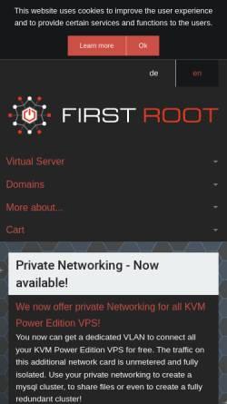Vorschau der mobilen Webseite www.first-root.com, First Root UG