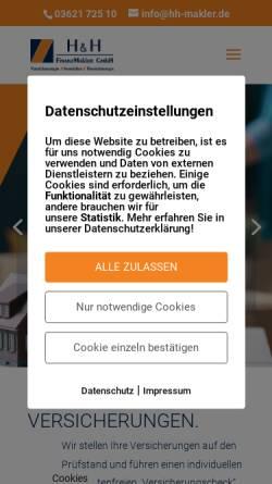Vorschau der mobilen Webseite www.hh-makler.de, H&H Finanzmakler GmbH - Versicherung, Finanzierung, Investment