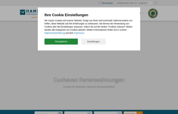 Vorschau von www.hamer-cuxhaven.de, Ferienwohnung in Cuxhaven Duhnen