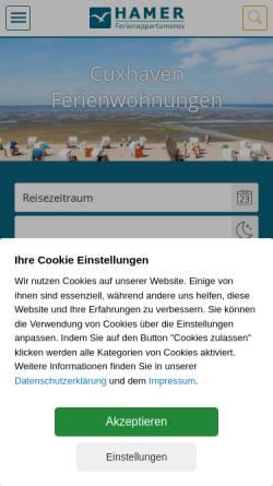 Vorschau der mobilen Webseite www.hamer-cuxhaven.de, Ferienwohnung in Cuxhaven Duhnen