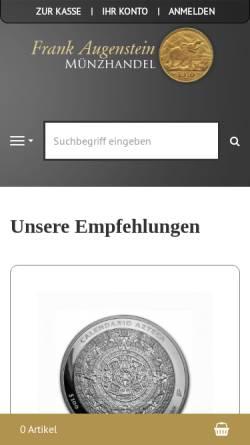 Vorschau der mobilen Webseite www.edelmetallanlage.de, Münzhandel Frank Augenstein