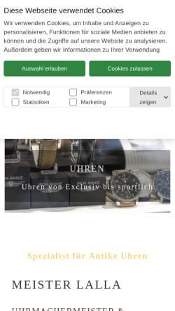 Vorschau der mobilen Webseite www.meister-lalla.de, Meister Lalla - Uhrmacher in Hamburg St. Georg