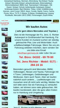 Vorschau der mobilen Webseite www.taxi-germany.de, Jens E. Richter - Taxenhandel