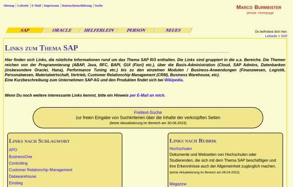 Vorschau von www.marco-burmeister.de, Links zum Thema SAP R/3