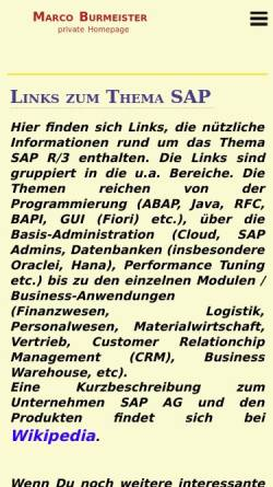 Vorschau der mobilen Webseite www.marco-burmeister.de, Links zum Thema SAP R/3