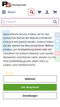Vorschau der mobilen Webseite www.shop-fotogravur.de, Fotogravur Photograver Ltd.