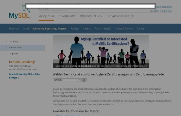 Vorschau von www.mysql.de, MySQL Zertifikate