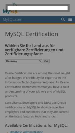 Vorschau der mobilen Webseite www.mysql.de, MySQL Zertifikate