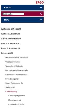 Vorschau der mobilen Webseite www.das.de, Internet & Computer: Cyber-Mobbing - D.A.S. Rechtsportal