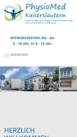 Vorschau der mobilen Webseite www.physiomed-kl.de, Physiotherapie Kaiserslautern