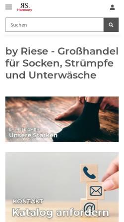 Vorschau der mobilen Webseite www.byriese.de, Strumpf Riese