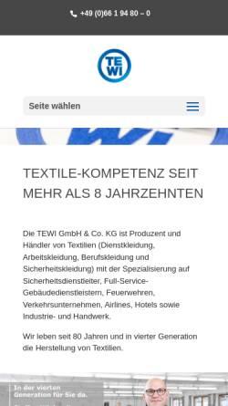 Vorschau der mobilen Webseite www.tewi.de, TEWI GmbH & Co. KG