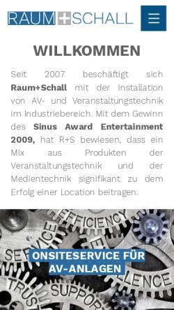Vorschau der mobilen Webseite www.raumplusschall.de, Raum plus Schall