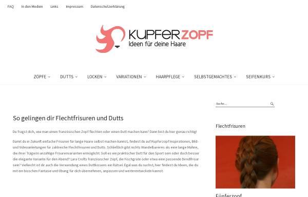 Vorschau von kupferzopf.com, Kupferzopf-Ideen für deine Haare