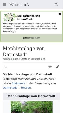 Vorschau der mobilen Webseite www.menhire.de, Menhire.de
