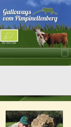 Vorschau der mobilen Webseite www.galloways-vom-pimpinellenberg.de, Galloways vom Pimpinellenberg, Heike Dietzmann