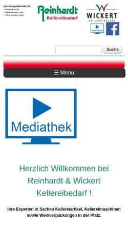 Vorschau der mobilen Webseite www.reinhardt-kellereibedarf.de, Reinhardt Kellereibedarf GmbH