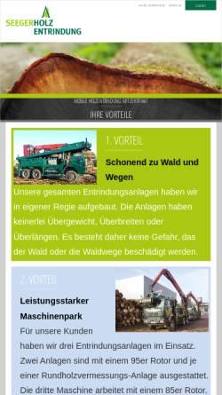 Vorschau der mobilen Webseite www.seeger-holzentrindung.de, Fritz Seeger GmbH Jettingen