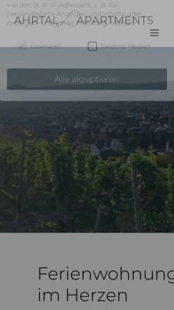 Vorschau der mobilen Webseite ahrtalapartments.de, Ahrtalapartments