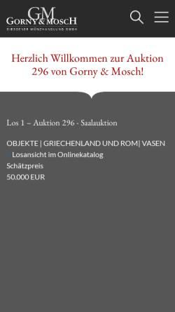 Vorschau der mobilen Webseite www.gmcoinart.de, Gorny & Mosch GmbH