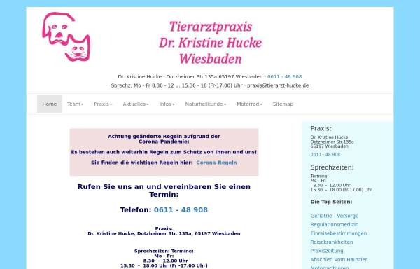Vorschau von www.tierarzt-hucke.de, Tierarztpraxis Dr. Kristine Hucke