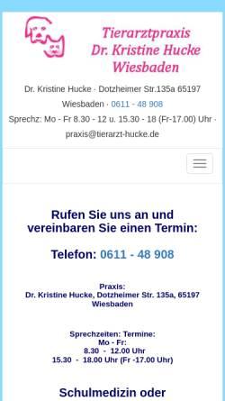 Vorschau der mobilen Webseite www.tierarzt-hucke.de, Tierarztpraxis Dr. Kristine Hucke