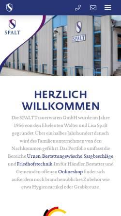 Vorschau der mobilen Webseite www.spalt-trauerwaren.de, Spalt Trauerwaren GmbH