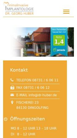 Vorschau der mobilen Webseite www.zahnarzt-dingolfing.com, Dr. Georg Huber Zahnarzt