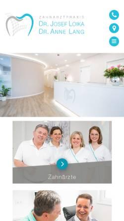 Vorschau der mobilen Webseite www.zahnarzt-kronach.com, Zaharztpraxis Dr. Josef Loika & Dr. Eva Scholl