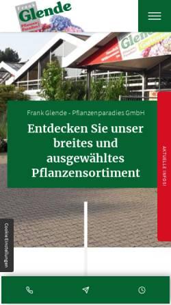 Vorschau der mobilen Webseite www.glende-pflanzenparadies.de, Frank Glende Pflanzenparadies GmbH