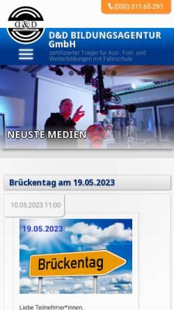 Vorschau der mobilen Webseite www.dd-bildungsagentur.de, D&D Bildungsagentur GmbH