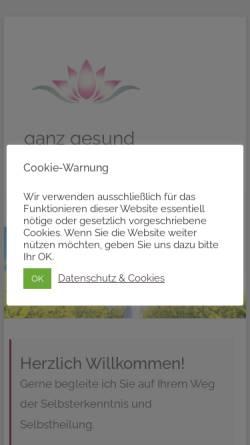 Vorschau der mobilen Webseite www.ganz-gesund.eu, Mag. Heidemarie Walbert