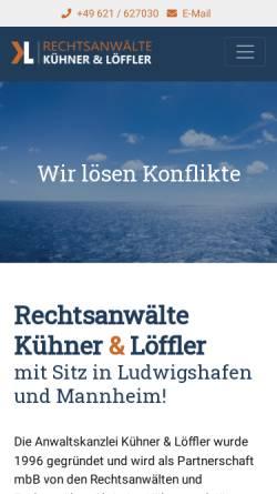 Vorschau der mobilen Webseite rechtsanwalt-mannheim-ludwigshafen.de, Rechtsanwälte Kühner & Löffler