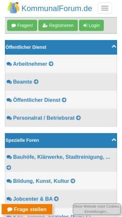 Vorschau der mobilen Webseite www.kommunalforum.de, KommunalForum