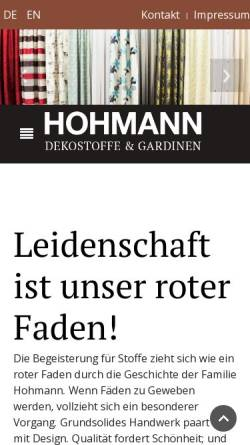 Vorschau der mobilen Webseite www.hohmann-weberei.de, Weberei Hohmann