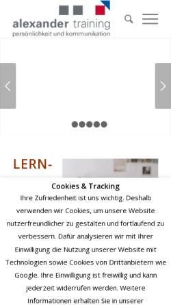 Vorschau der mobilen Webseite alexander-training.de, Alexander-Training