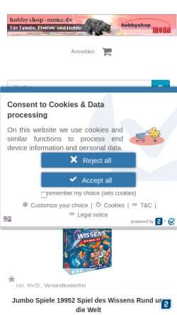 Vorschau der mobilen Webseite www.malennachzahlen-mona.de, Malen nach Zahlen