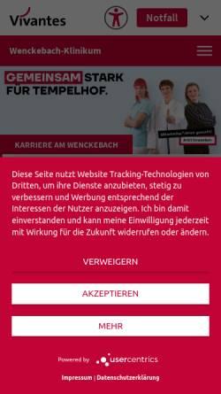 Vorschau der mobilen Webseite www.vivantes.de, Vivantes Wenckebach-Klinikum