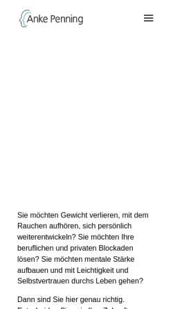 Vorschau der mobilen Webseite www.hypnose-erfolg.net, Hypnose Praxis Anke Penning
