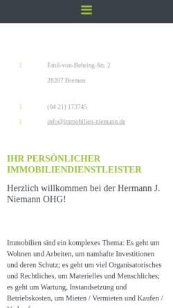 Vorschau der mobilen Webseite www.immobilien-niemann.de, Hermann J. Niemann