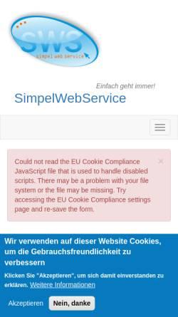 Vorschau der mobilen Webseite simpelwebservice.de, Simpelwebservice, Michael Rosenberger