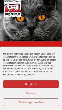 Vorschau der mobilen Webseite tierheim-duderstadt.de, Tierschutzverein Duderstadt u.U.e.V.