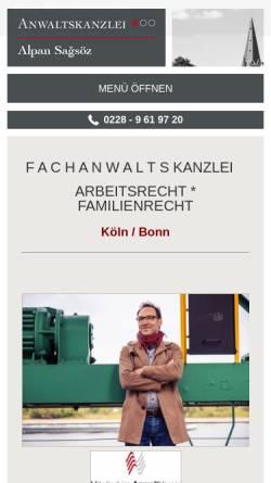 Vorschau der mobilen Webseite bonn-rechtsanwalt.de, Rechtsanwälte Sagsöz & Euskirchen