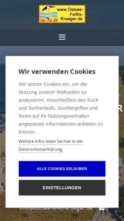 Vorschau der mobilen Webseite www.ostsee-fewo-krueger.de, Ostsee-FeWo-Krueger