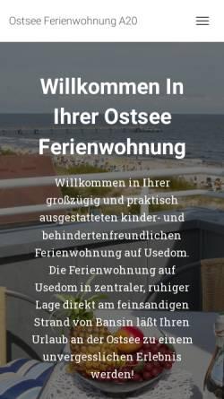 Vorschau der mobilen Webseite www.ostsee-bansin.de, Ferienwohnung Ihle in der Dünenresidenz