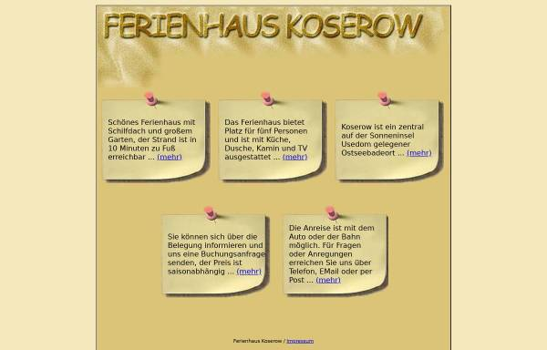 Vorschau von www.ferienhauskoserow.de, Ferienhaus Schumacher