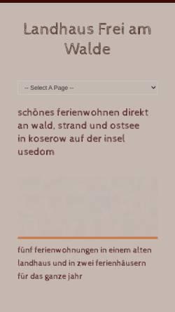 Vorschau der mobilen Webseite www.freiamwalde.de, Ferienwohnungen im Landhaus Frei Am Walde