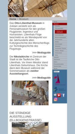 Vorschau der mobilen Webseite lilienthal-museum.de, Otto-Lilienthal-Museum Anklam