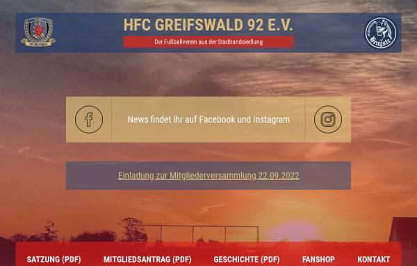 Vorschau von www.greifswalder-hengste.de, HFC Greifswald 92