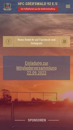 Vorschau der mobilen Webseite www.greifswalder-hengste.de, HFC Greifswald 92